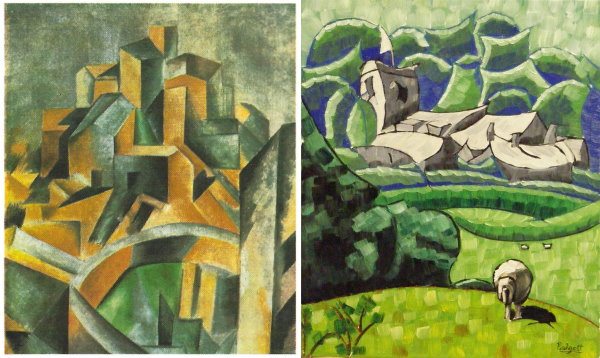 The Reservoir 1909 by Picasso - left - and Ribchester Church by Anthony Padgett 2018