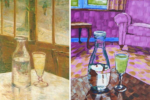 Still Life with Absinthe by Van Gogh 1887 and Anthony D. Padgett 2017