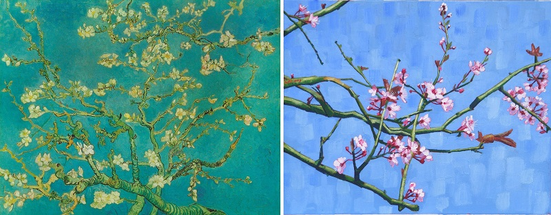 Blossoming Almond Tree by Van Gogh 1890 and Anthony D. Padgett 2017