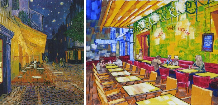 The Cafe Terrace on the Place du Forum, Arles, at Night by Van Gogh 1888 and Under Canopy version by Anthony D. Padgett 2017