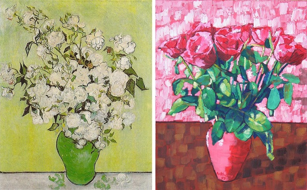 Still Life Pink Roses in a Vase by Van Gogh 1890 and Anthony D. Padgett 2017