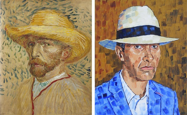 Self Portrait with Straw Hat by Van Gogh 1887 and Anthony D. Padgett 2017
