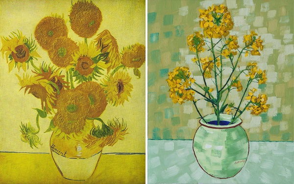 Still Life Vase with Fourteen Sunflowers by Van Gogh 1888 and Rapeseed by Anthony D. Padgett 2017