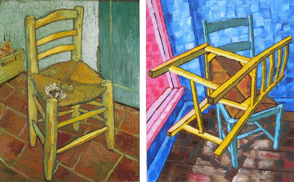 Vincent's Chair With His Pipe by Van Gogh 1888 and Anthony D. Padgett 2017