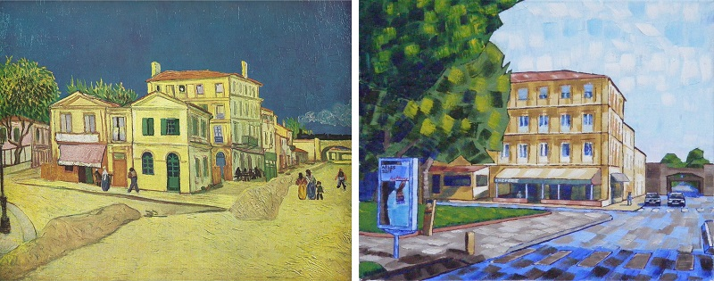 Vincent's House in Arles (The Yellow House) by Van Gogh 1888 and missing Yellow House by Anthony D. Padgett 2017