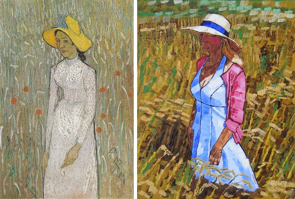 Young Girl Standing against a Background of Wheat by Van Gogh 1890 and Middle Aged Woman by Anthony D. Padgett 2017